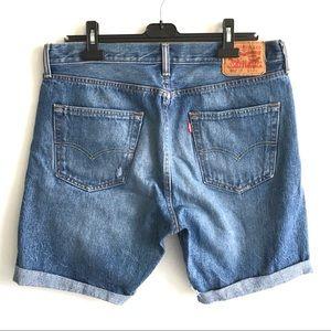 LEVI'S 501 CT Mid-Length Cut Off Denim Shorts Blue